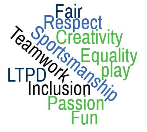 Our Values: Fair, Respect, Creativity, Equality, Play, Sportsmanship, Teamwork, LTPD, Inclusion, Passion, Fun